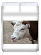 White And Brown Heifer Dairy Cow Duvet Cover