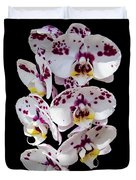 White And Magenta Orchids Duvet Cover