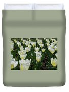 White And Pale Yellow Tulips In A Bulb Garden Duvet Cover