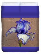 White And Purple Bearded Iris Duvet Cover
