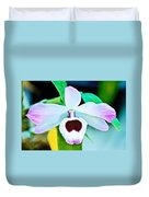 White And Purple Orchid In Greenhouse At Pilgrim Place In Claremont-california Duvet Cover