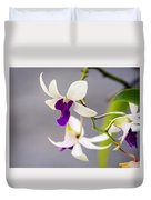 White And Purple Orchid Duvet Cover