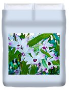 White And Purple Orchids In Greenhouse At Pilgrim Place In Claremont-california Duvet Cover
