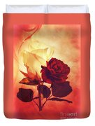White And Red Roses Duvet Cover