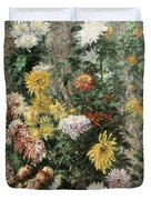 White And Yellow Chrysanthemums In The Garden At Petit Gennevilliers Duvet Cover
