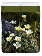 White And Yellow Poppies 1 Duvet Cover