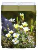 White And Yellow Poppies Abstract 2   Duvet Cover
