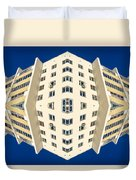 White Apartment Block Abstract And Blue Sky Duvet Cover