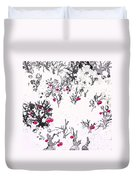White As Snow With Cherries Duvet Cover