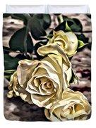 White Baby Roses Duvet Cover