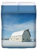 White Barn With Snow Duvet Cover