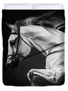 White Beautiful Horse B And W Duvet Cover