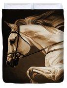 White Beautiful Horse  Duvet Cover