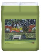 White Bench In Colorful Garden Duvet Cover
