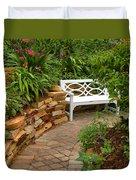 White Bench In The Garden Duvet Cover
