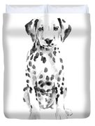 Dalmatian Dog Watercolor Painting, White Black Spotted Dalmatian Puppy Art Print Duvet Cover