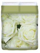 White Blooming Roses Duvet Cover