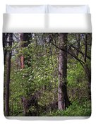 White Blossoms In The Woods Duvet Cover