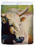 White Bull Portrait Duvet Cover