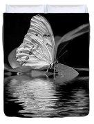 White Butterfly Bw Duvet Cover