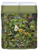 White Butterfly On Golden Daisy Duvet Cover