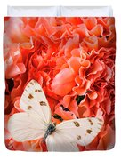 White Butterfly On Pink Carnations Duvet Cover