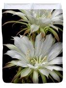 White Cactus Flowers Duvet Cover