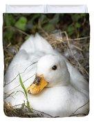 White Call Duck Sitting On Eggs In Her Nest Duvet Cover