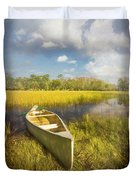 White Canoe Textured Painting Duvet Cover