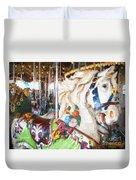 White Carousel Horse Dressed Up Duvet Cover