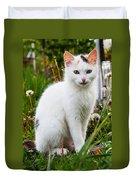 White Cat Sitting Duvet Cover