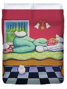 White Cats - Cat Napping Duvet Cover