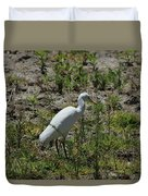 White Cattle Egret Duvet Cover