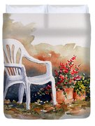 White Chair With Flower Pots Duvet Cover