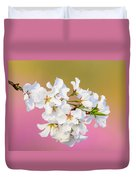 White Cherry Blossoms Against A Pink And Gold Background Duvet Cover
