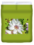 White Clematis Yellow And Purple Throat Duvet Cover
