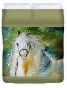 White Cloud The Andalusian Stallion Duvet Cover