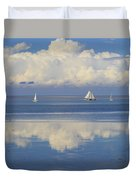 Romantic View With Sailboats In Holland Duvet Cover