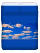 White Clouds In Blue Sky Duvet Cover