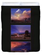 White Clouds Triptych Duvet Cover