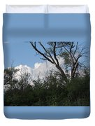 White Clouds With Trees Duvet Cover