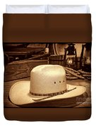 White Cowboy Hat In A Barn Duvet Cover
