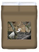 White Crane On Roof Duvet Cover