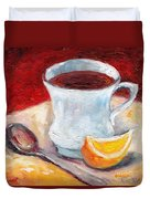 White Cup With Lemon Wedge And Spoon Grace Venditti Montreal Art Duvet Cover