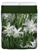 White Daffodils  Duvet Cover