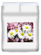 White Daisies Flowers Art Prints Spring Pink Blossoms Baslee Duvet Cover