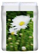 White Daisy Digital Oil Painting Duvet Cover