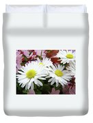 White Daisy Floral Art Print Canvas Pink Blossom Baslee Troutman Duvet Cover