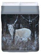White Deer In Winter Duvet Cover