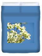 White Dogwood Flowers 1 Blue Sky Landscape Artwork Dogwood Tree Art Prints Canvas Framed Duvet Cover
